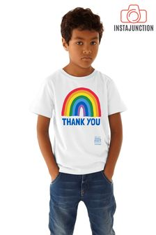 Little Mistress x White Kindred Rainbow Thank You NHS Kid's T-Shirt by Instajunction
