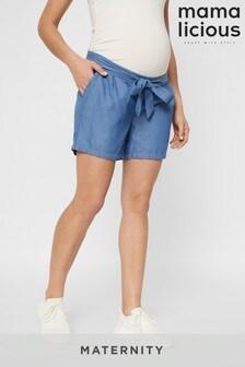 Mamalicious Maternity Lightweight Denim Shorts