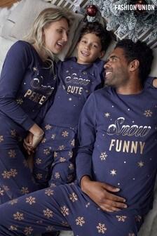Fashion Union Navy Snowflake Matching Family Christmas Pyjamas