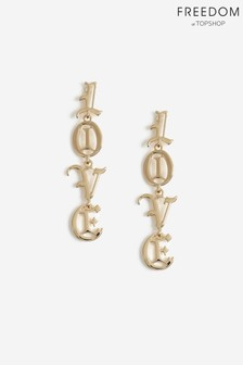 Freedom Jewellery Love Word Drop Earrings