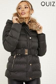 Quiz Faux Fur Collar Padded Jacket