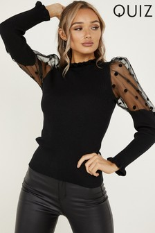 Quiz Polka Dot Sleeve Ruffle Neck Top