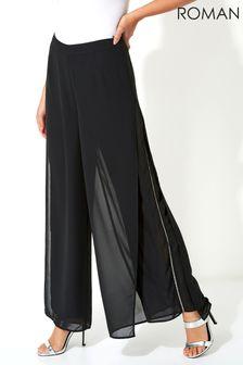 Roman Black Diamante Embellished Side Split Chiffon Trousers
