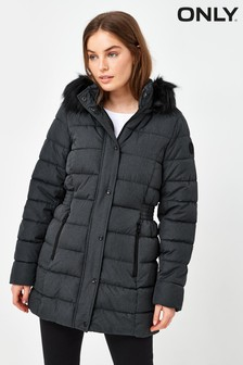 Only Black Longline Quilted Padded Coat