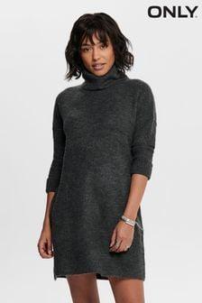 Only Grey Roll Neck Knit Jumper Dress