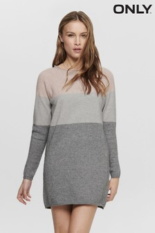 Only Light Grey Colour Block Knitted Jumper Dress