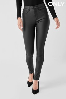 Only Black High Waisted Faux Leather Coated Skinny Jeans