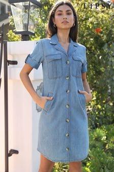 Lipsy Blue Denim Shirt Dress