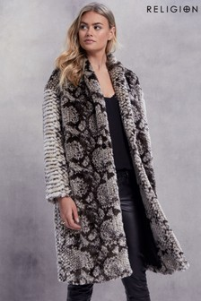 Religion Glow Faux Fur Coat
