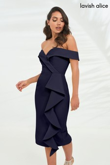 Lavish Alice Navy Bardot Midi Dress