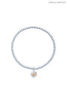 Estella Bartlett Silver Sienna Wildflower Bracelet with Beads and Wildflower