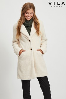 Vila Button Up Teddy Coat