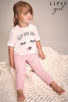 Lipsy Pink Mini Short Sleeve Legging Pyjama Set