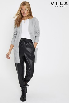 Vila Grey Open Knit Cardigan