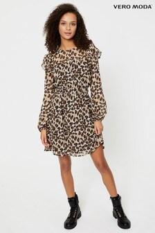 Vero Moda Silver Leopard Print Frill Dress