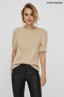 Vero Moda Neutral Puff Sleeve T-Shirt