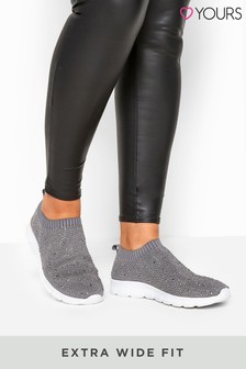 Yours Extra Wide Fit Sock Style Diamanté Trainers