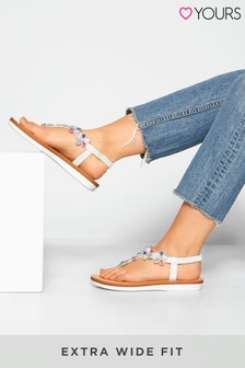 Yours White Optima Gem Flower Sandals