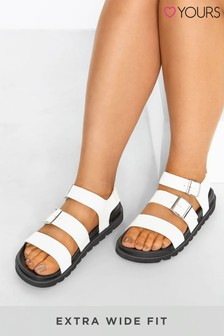 Yours White Lala Buckle Footbed Sandals
