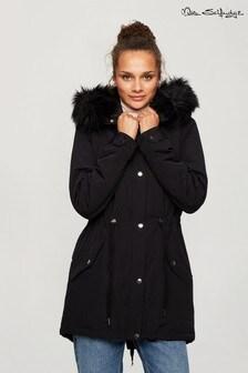 Miss Selfridge Black Luxe Parka Jacket