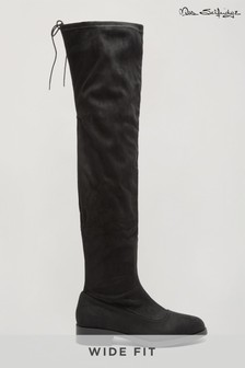 Miss Selfridge Black Olivia Wide Fit Knee High Boot