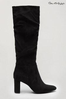 Miss Selfridge Black Oxford Ruched High Leg Boot