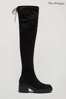 Miss Selfridge Black Otto High Knee Boots