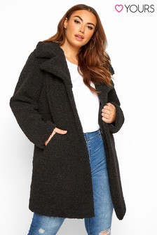 Yours Black Curve Teddy Coat