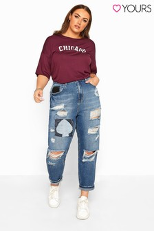 Yours Curve Extreme Ripped Patch Mom Jeans