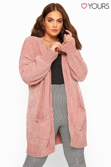 Yours Curve Balloon Sleeve Chenille Knitted Cardigan