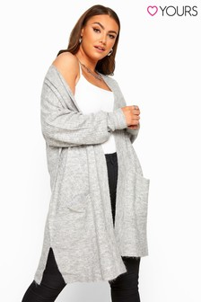 Yours Curve Marl Longline Knitted Cardigan