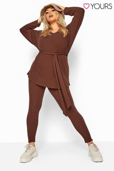 Yours Brown Curve Ribbed Co-Ord Lounge Leggings