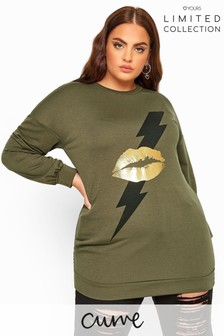 Yours Khaki Curve Limited Collection Lightning Lips Print Sweatshirt