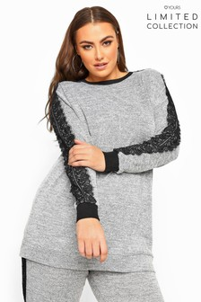 Yours Grey Curve Limited Collection Lace Tape Knitted Sweatshirt