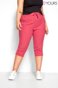 Yours Pink Curve Cool Cotton Cropped Trouser