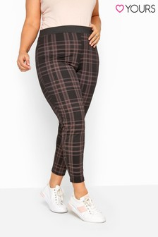 Yours Black Curve Check Ponte Trouser