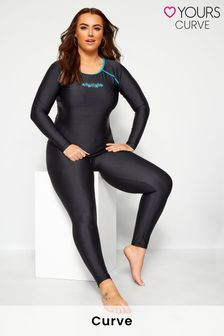 Yours Black Curve Long Leg Swim Pants
