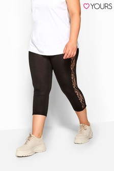 Yours Black Curve Lace Insert Crop Legging