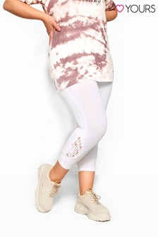 Yours White Curve Guipure Lace Crop Legging