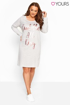 Yours Grey Curve Animal Long Sleeve Nightdress