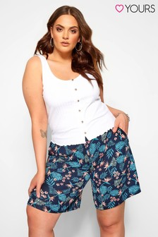 Yours Tropical Blue Curve Jersey Printed Shorts