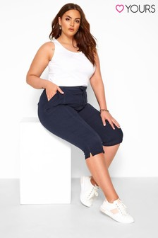 Yours Navy Curve Cool Cotton Cropped Trouser