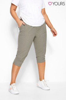 Yours Khaki Curve Cool Cotton Cropped Trouser