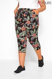 Yours Black Curve Crop Trouser Hawaiian Print
