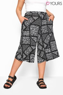 Yours Black Curve Ditsy Floral Jersey Culotte
