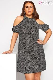 Yours Black Curve A - Line Cold Shoulder Ditsy Dress