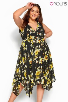 Yours Black Curve Floral Hanky Wrap Dress