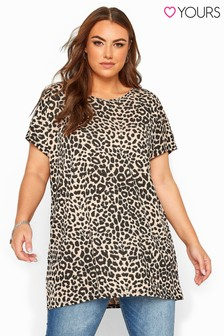 Yours Nude Curve Leopard Print Dipped Hem T-Shirt