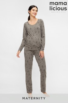 Mamalicious Grey Maternity Nursing Star Print Pyjama Set