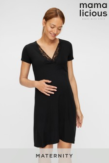 Mamalicious Maternity Lace Detail Jersey Night Dress
